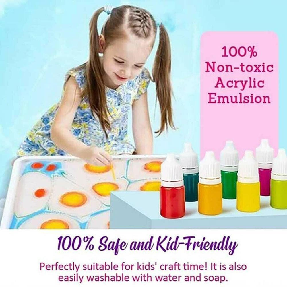 Marbling Painting Kit Floating Painting Set DIY Painting On Water Creative Art Set Of 6 Colors Children Puzzle Graffiti Painting