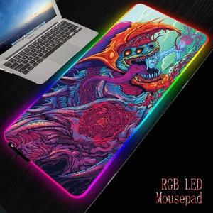 XGZBig большой игровой коврик для мыши RGB XL геймер Коврик для мыши для Cs Go Hyper Beast PC компьютер со светодиодной подсветкой XXL клавиатура Настольны...