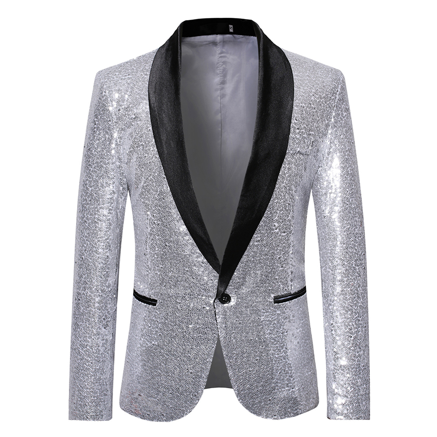<font><b>Men</b></font> <font><b>Sequine</b></font> <font><b>Jacket</b></font> <font><b>Blazer</b></font> Slim Fit Golden Suit <font><b>Jacket</b></font> Shinning Club Outfit Party Outwear Streetwear Performance Dancer Clothes image
