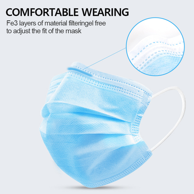 Mask 50pcs Disposable 3 Ply Antivirus Face Mask Anti Mouth Cover Flu Facial Dust Template Filter Masks 2