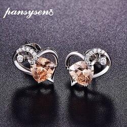 PANSYSEN New Fashion 925 Sterling Silver Topaz Gemstone Stud Earrings for Women Heart Shape Silver Earrings Female Jewelry Gift