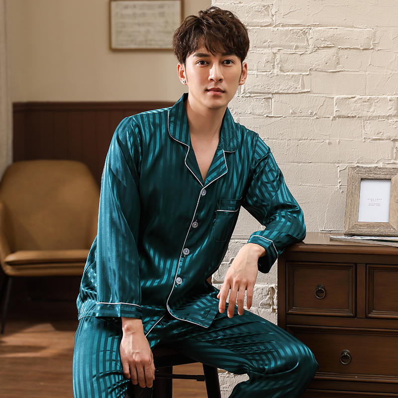 New Arrival Autumn Long Sleeved Men's Imitate Silk Pajamas Set Turn-down Collar Cardigan Plus Size L-3XL Male Homewear Clothing