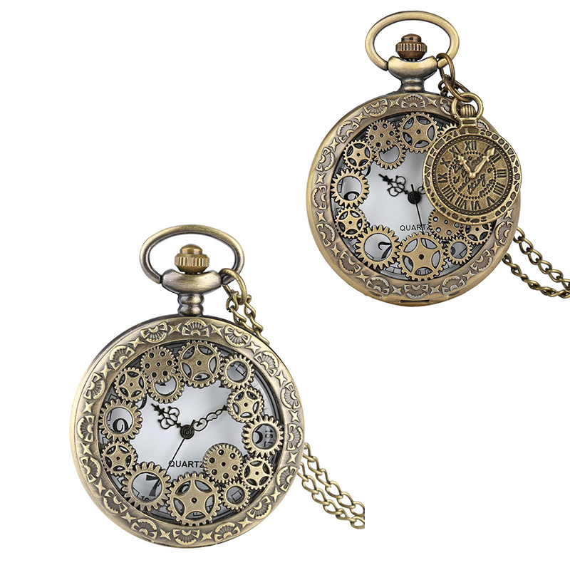 2019 New Arrival Hollow Gearwheel Bronze Quartz Pocket Watch Necklace Clock Drop Shipping