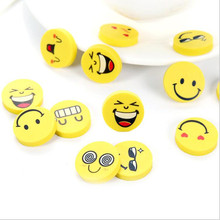 4 pcs/lot Cute Smile Yellow Emoji Expression Cartoon Face Round Eraser Stationery School Supplies Tombow For Kids