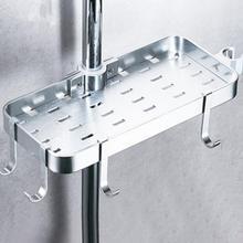 מגש מלון אמבטיה מדף מקלחת מוט אחסון מתלה אוניברסלי מלבן אין קידוח ניקוז בית חלל אלומיניום עם 4 ווים