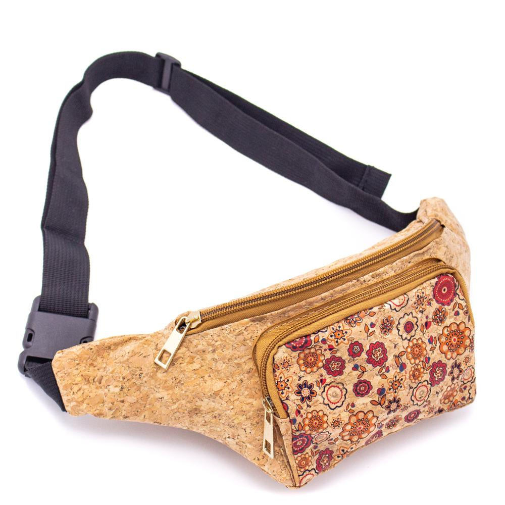 Cork Travel Belt Bag With Floral Pattern And Coin Pocket BAGD-061