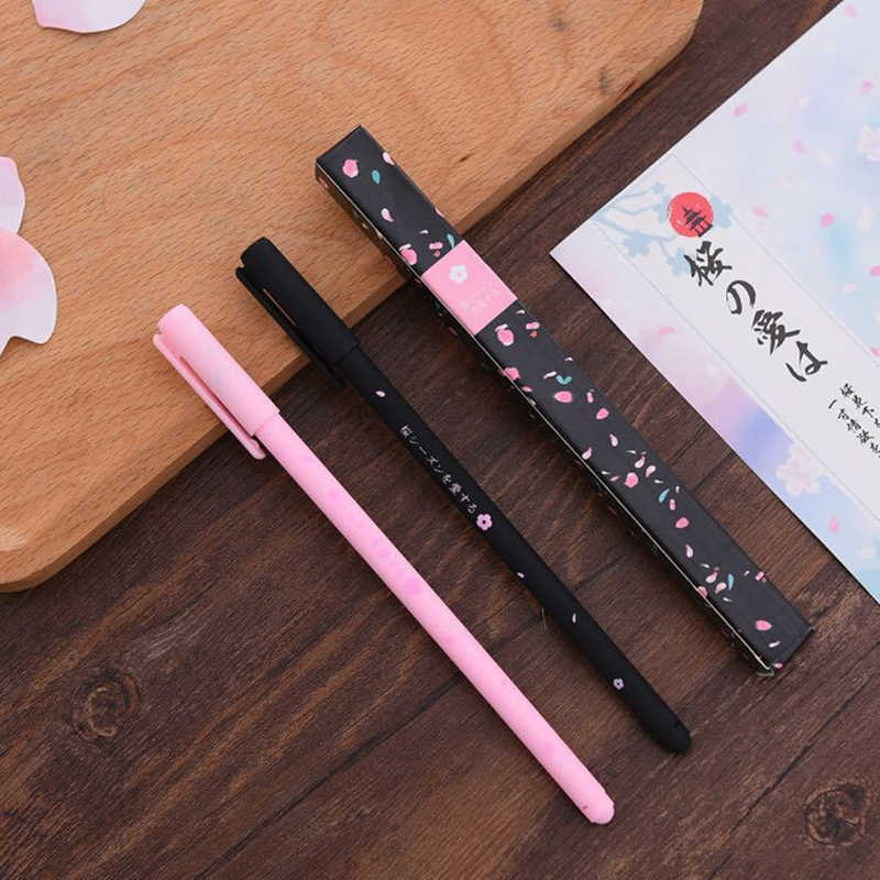 1pcs Romantic Sakura Gel Pen Rollerball Pen School Office Supply Student Stationery Signing Pen Black Ink 0.38mm