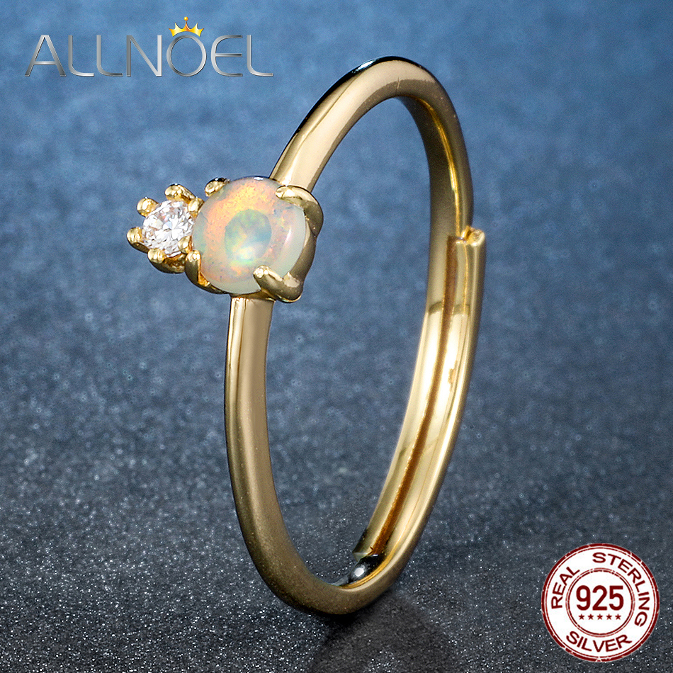ALLNOEL Sterling 925 Silver Cat's Eye Stone Ring For Women Jewelry Anniversaries Crystal Noble Gemstones Gold Silver 925 Jewelry