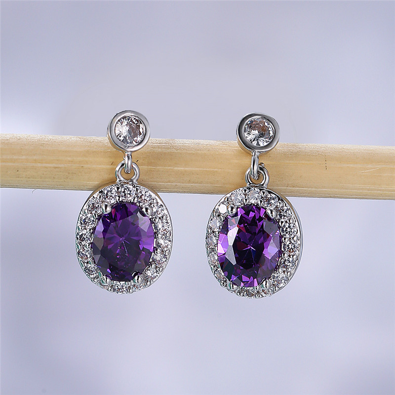 Luxury Female Green Crystal Stone Earrings Rose Gold Silver Color Dangle Earrings Simple Bridal Oval Wedding Earrings For Women