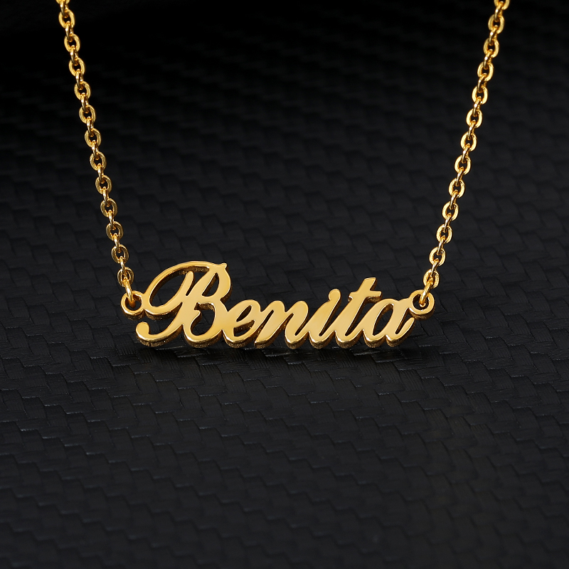 Custom Name Pendant Necklace Silver Gold Chain Stainless Steel Customized Cursive Old English Necklace Personalized Gift For Her