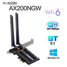 Dual band 3000 Мбит/с AX200 рабочего стола PCIE Беспроводной адаптер Wi-Fi 6 Intel AX200NGW 2,4 г/с) Wi-Fi 5 ГГц 802,11 ac/ax BT 5,1 FV-AX3000 Wi-Fi кард