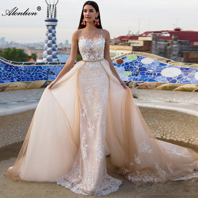 Alonlivn Elegant 2 In 1 Wedding Dress Champagne Tulle With Gold Belt Removable Train Appliques Lace Sleeveless Bridal Gowns 1