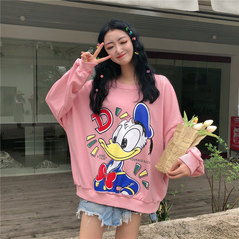 Winter Women Sweatshirts Hoodies Cartoon Printed Casual Pullover Cute Jumpers Top Long Sleeve Loose Fleece Tops Donald Duck