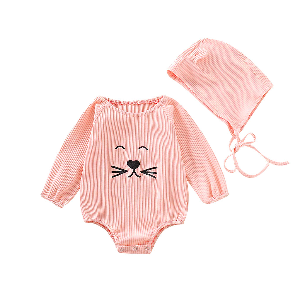 Cartoon Cat Kids Baby Girl Child Toddler Long Sleeve Romper Bodysuit Jumpsuit Outfit Clothes