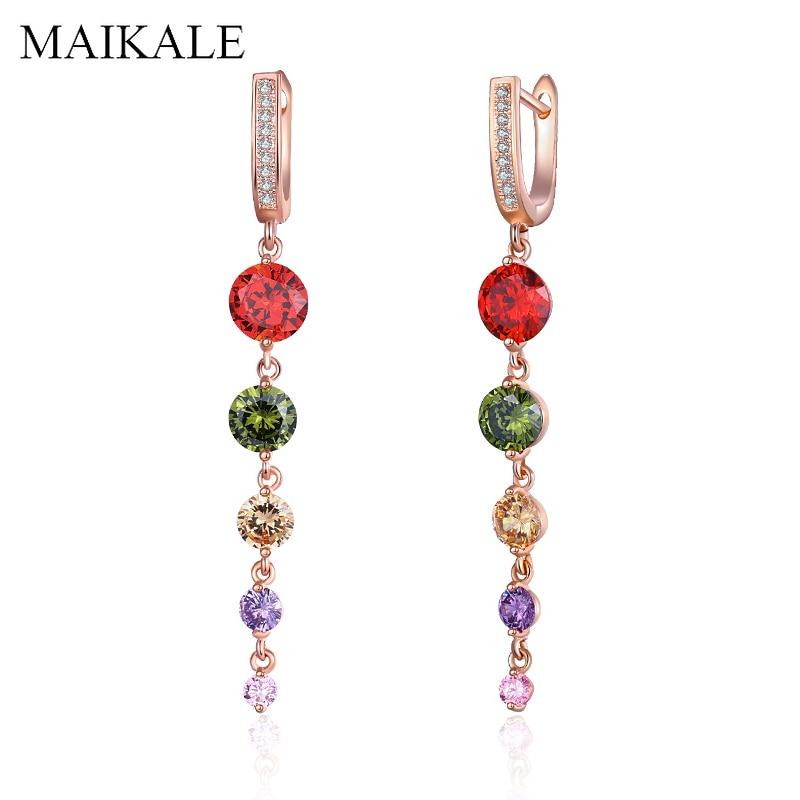Женские серьги-подвески MAIKALE, романтические длинные серьги из розового золота с цирконием и разноцветными Фианитами, ювелирные изделия для ...