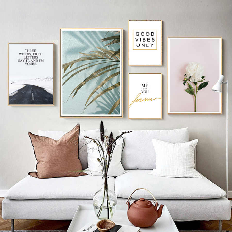Nordic Wall Picture Landscape Poster Canvas Painting Minimalist Quotes Print Flower Mural Decor for Living Room Kitchen Pop Art