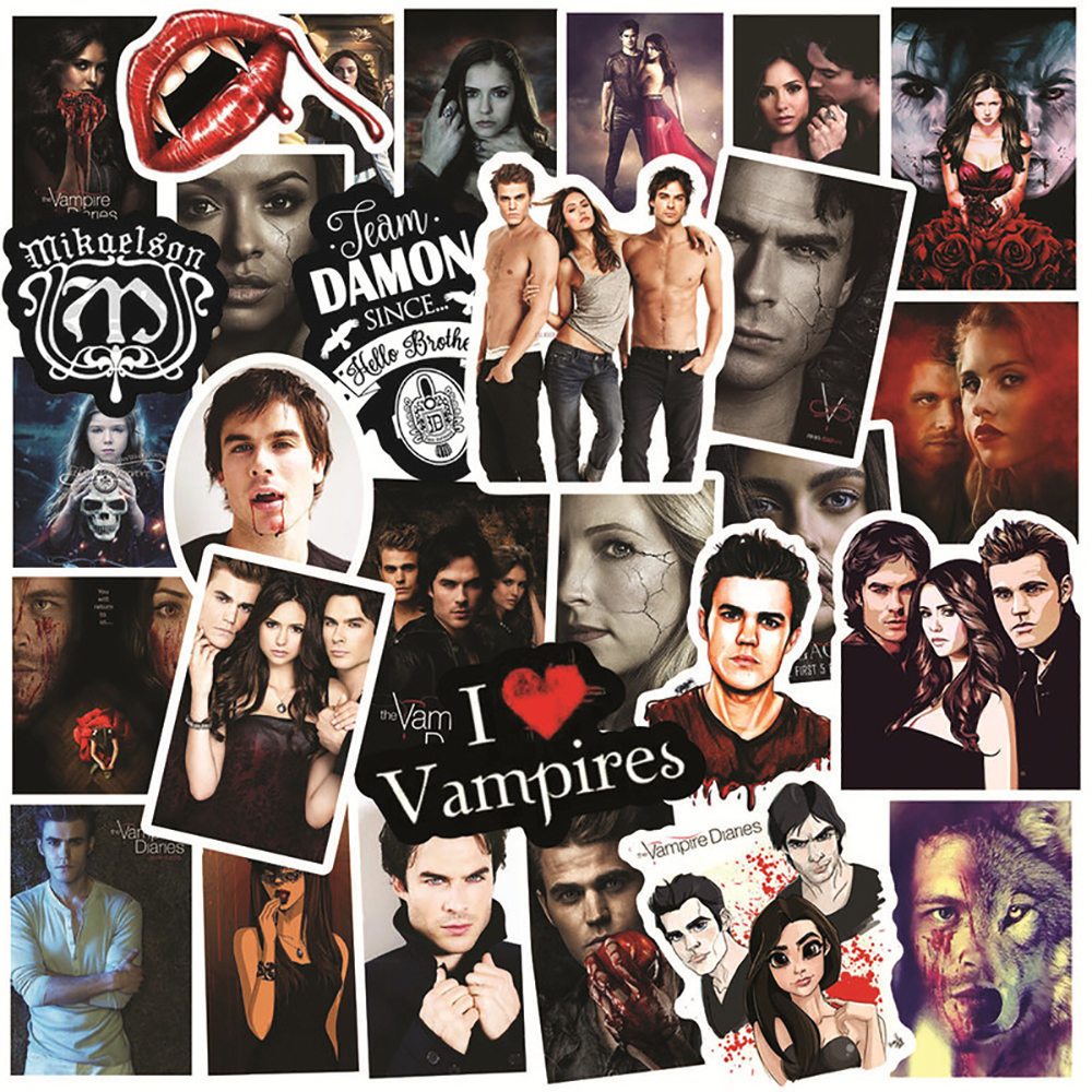 50PCS TV Show The Vampire Diaries Graffiti Stickers Motorcycle Travel Luggage Guitar Skateboard DIY Classic Toy Stickers For Kid