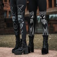 [You're My Secret] Готические Леггинсы для женщин, спортивные штаны, темно-розовые, черные, с принтом кота, с черепом, леггинсы Devil Satan Leggins