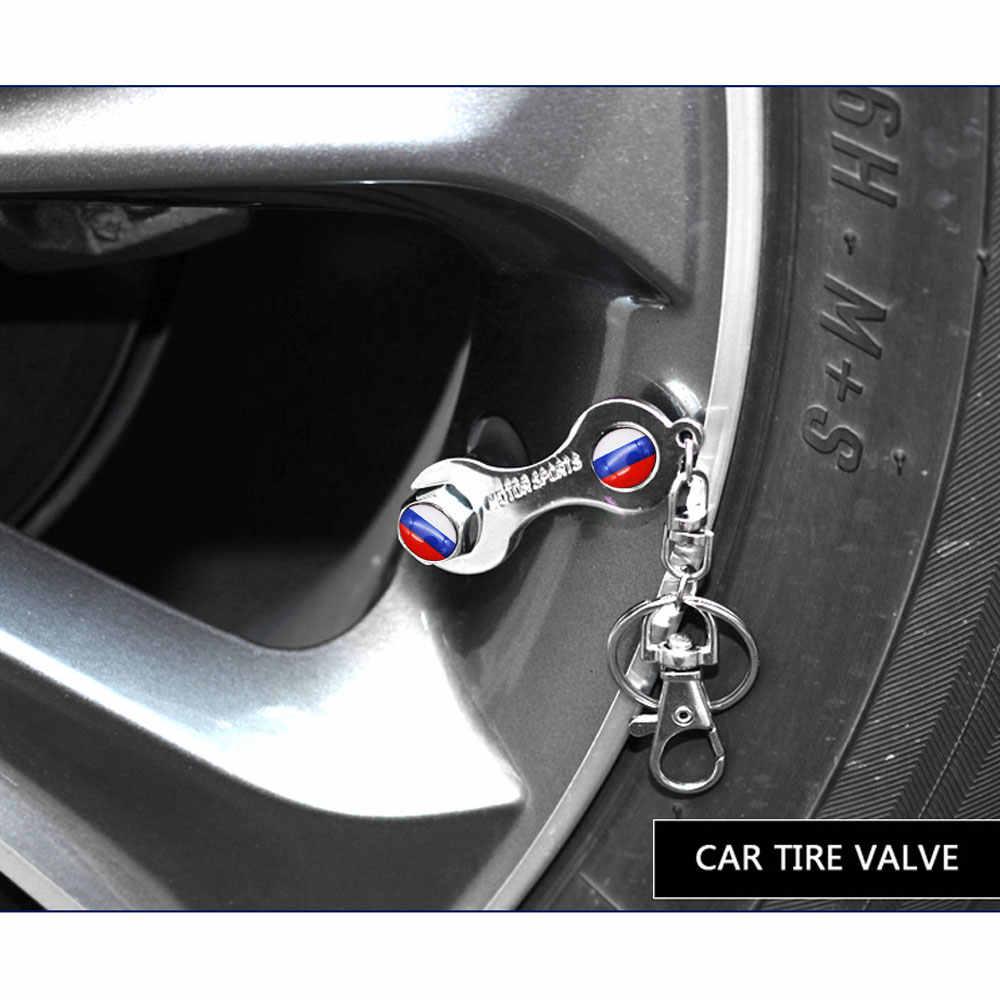 5 Pcs/set Rusia Bendera Mobil Roda Ban Katup Udara Topi dengan Kunci Gantungan Kunci Paduan Seng Stem Debu Cover Aksesoris Dekorasi