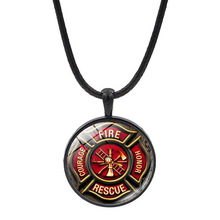 Classic Rescue Firefighter Glass Necklace Fashion Personality Men's Unisex Jewelry Gift Black Leather Rope Pendant Necklaces strollgirl classic necklaces