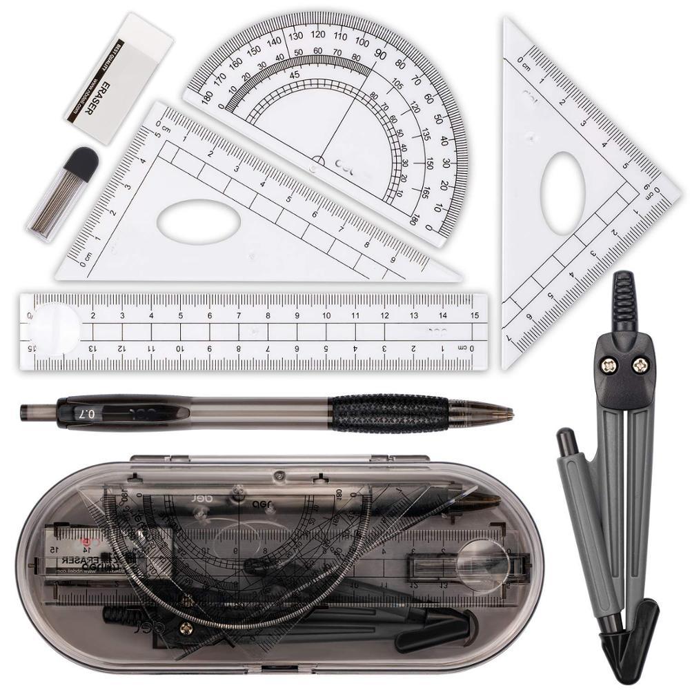 XRHYY набор для математики, 8 шт., школьные принадлежности с противоударной коробкой для хранения, для инженерного рисования, компас