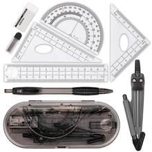 Kit de geométrica xrhyy, conjunto de 8 peças, suprimentos para estudantes com caixa de armazenamento inquebrável para engenharia, desenho, bússola, régua transferidora