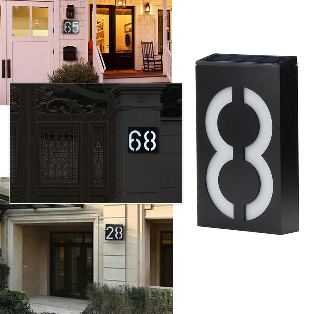 Solar Power LED Light Hotel House Number Door Address Digits Wall Mount Porch Light Sign Mailbox Plaque Number Digits Plate
