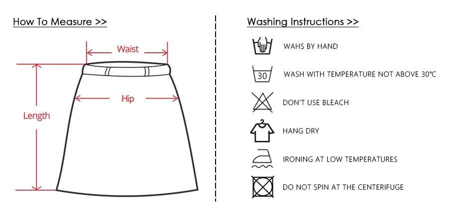 1、半身裙尺码图