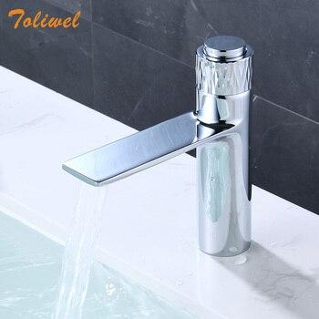 Brass Push Button Faucet Contemporary Bathroom Cold Hot Mixer Chrome Wash Basin Faucet Deck Mount  New Fashion Design