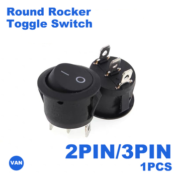 FREE SHIPPING 1PCS 2/3PIN Black ON/OFF 6A/250V Round Rocker Toggle Switch   RED White Plastic Push Button Switch 5 small round black 2 pin 2 files 3a 250v 6a 125v rocker switch seesaw power switch