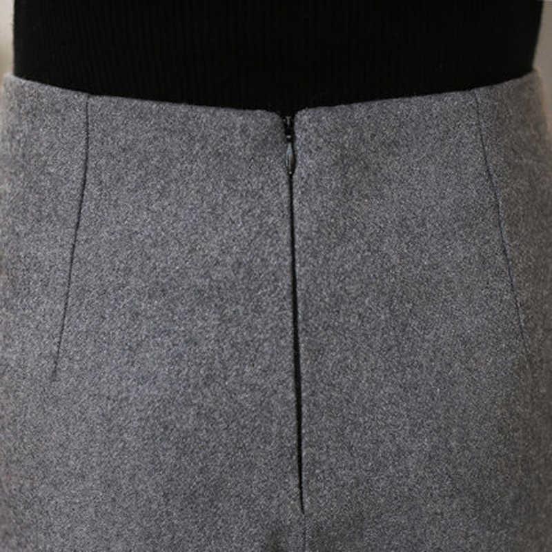 Midi wełniane szorty wysoka talia szerokie nogawki krótkie spodnie jesień zima pół Booty spodenki luźne spodnie typu casual Plus rozmiar XXL czarny