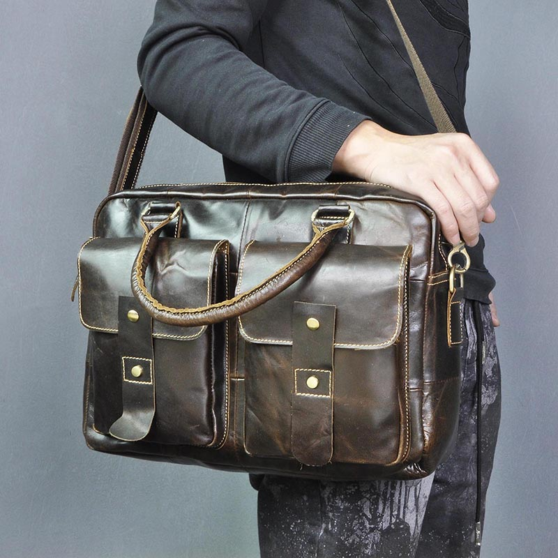 Men Quality Leather Design Travel Business Briefcase 14