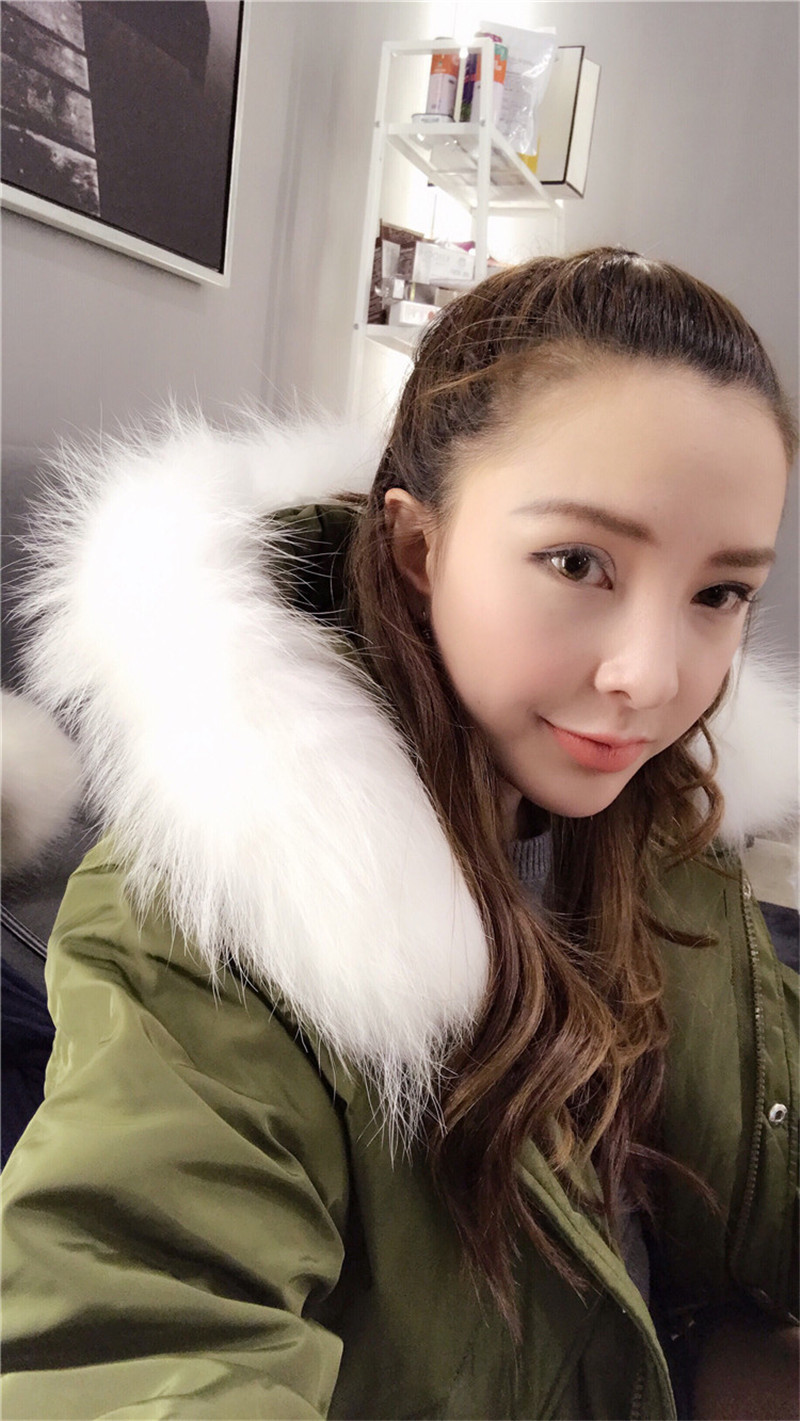 Winter Women's Fashion Coat Female Warm White Duck Down Jacket Fur Collar Hooded Ladies Coats Slim Parkas Casacos WXF336 S