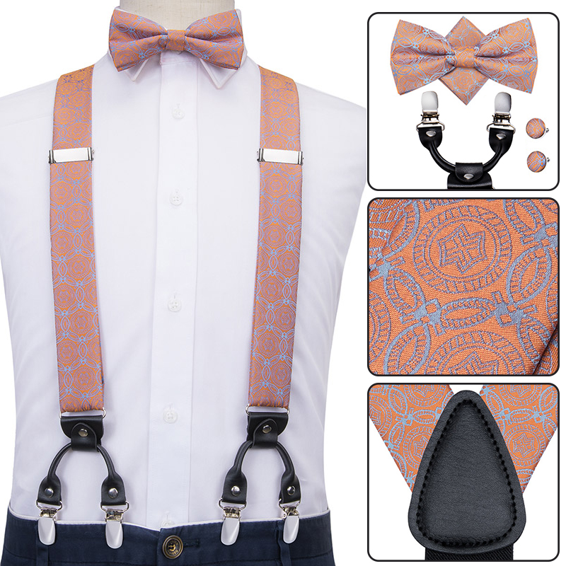 Hi-Tie Men Suspenders Floral Fashion Wedding Various 6 Clips Party Pre-Tied Bowtie Pocket Square Set Adjustable Peach Braces