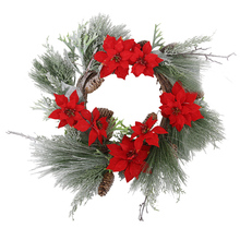 Christmas Artificial Flowers Wreath Front Door Holiday Home Hanging Decoration Frosted Winter Greens Plant