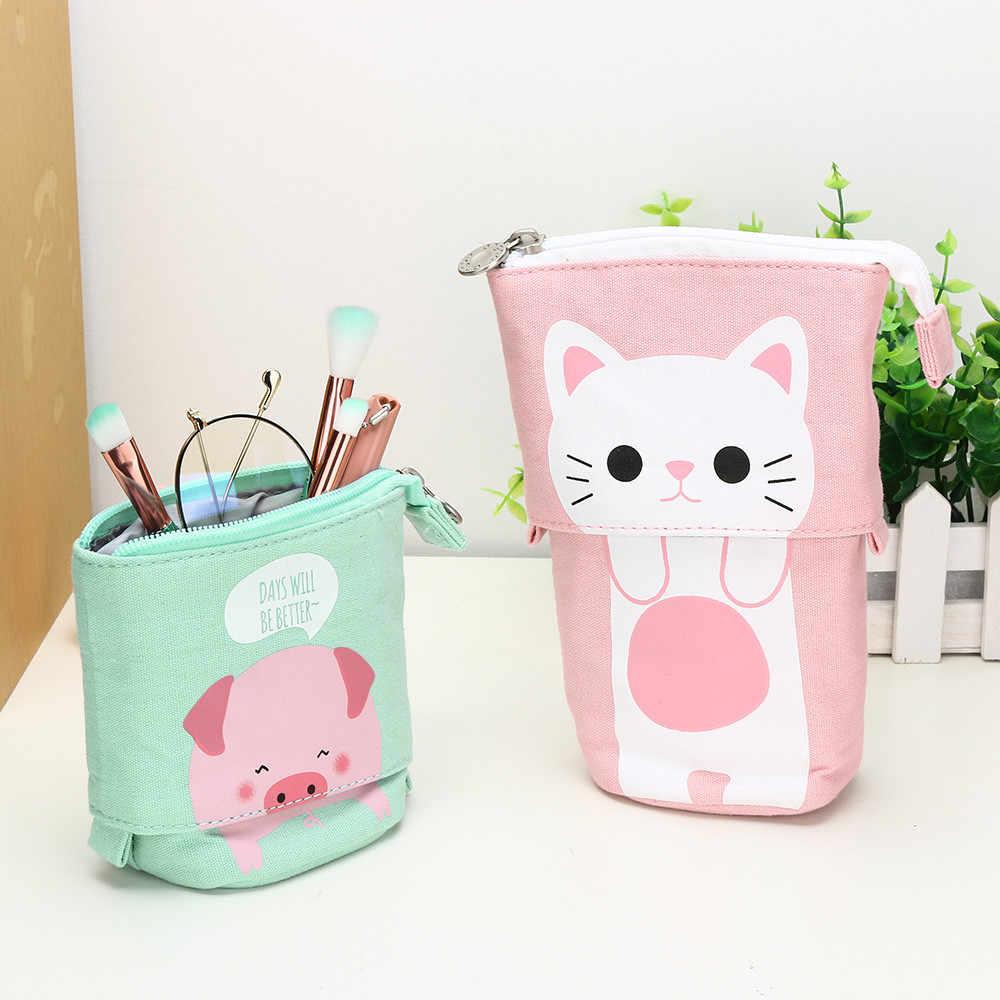 1pc loja caixa de lápis dos desenhos animados gato bonito telescópico lápis saco kawaii lápis sacos papelaria caixa estudantes crianças suprimentos