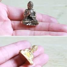 Pequeno buda de bronze estatuetas sentado buddhas estátua ornamento decorativo para viagem adoração feng shui antigo decoração da casa