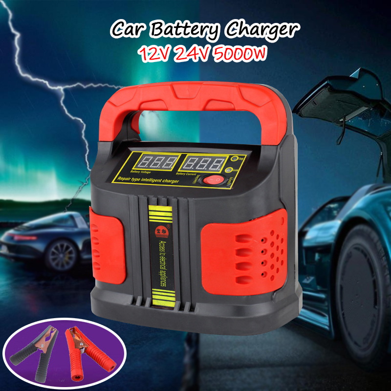 <font><b>Car</b></font> <font><b>Battery</b></font> <font><b>Charger</b></font> 12V 24V Fully Automatic LCD Display 5000W <font><b>Car</b></font> <font><b>Battery</b></font> <font><b>Charger</b></font> <font><b>Jump</b></font> <font><b>Starter</b></font> Motorcycle Pulse Repair <font><b>Charger</b></font> image