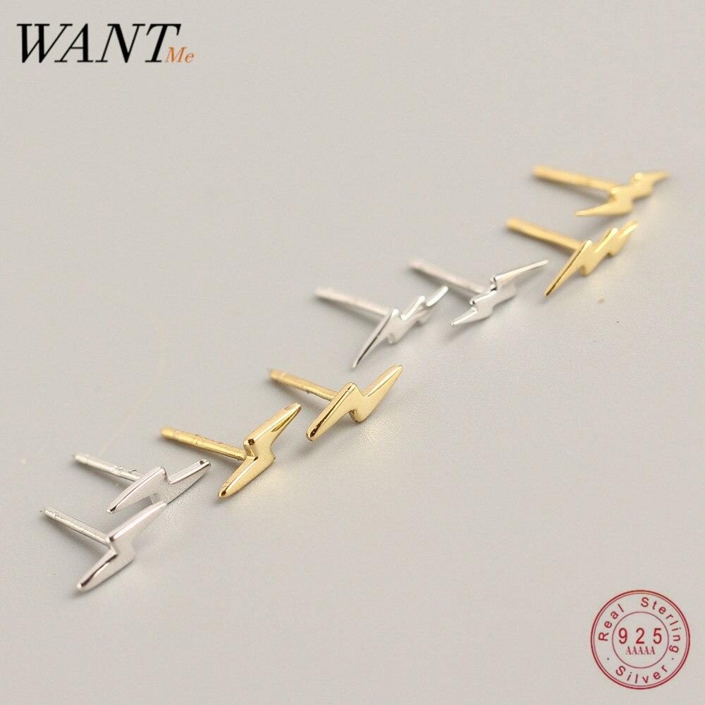 WANTME Echtem 100% 925 Sterling Silber Minimalis Mini Blitz Sehr Kleine Stud Ohrringe Für Frauen Mädchen Persönlichkeit Teen Geschenk