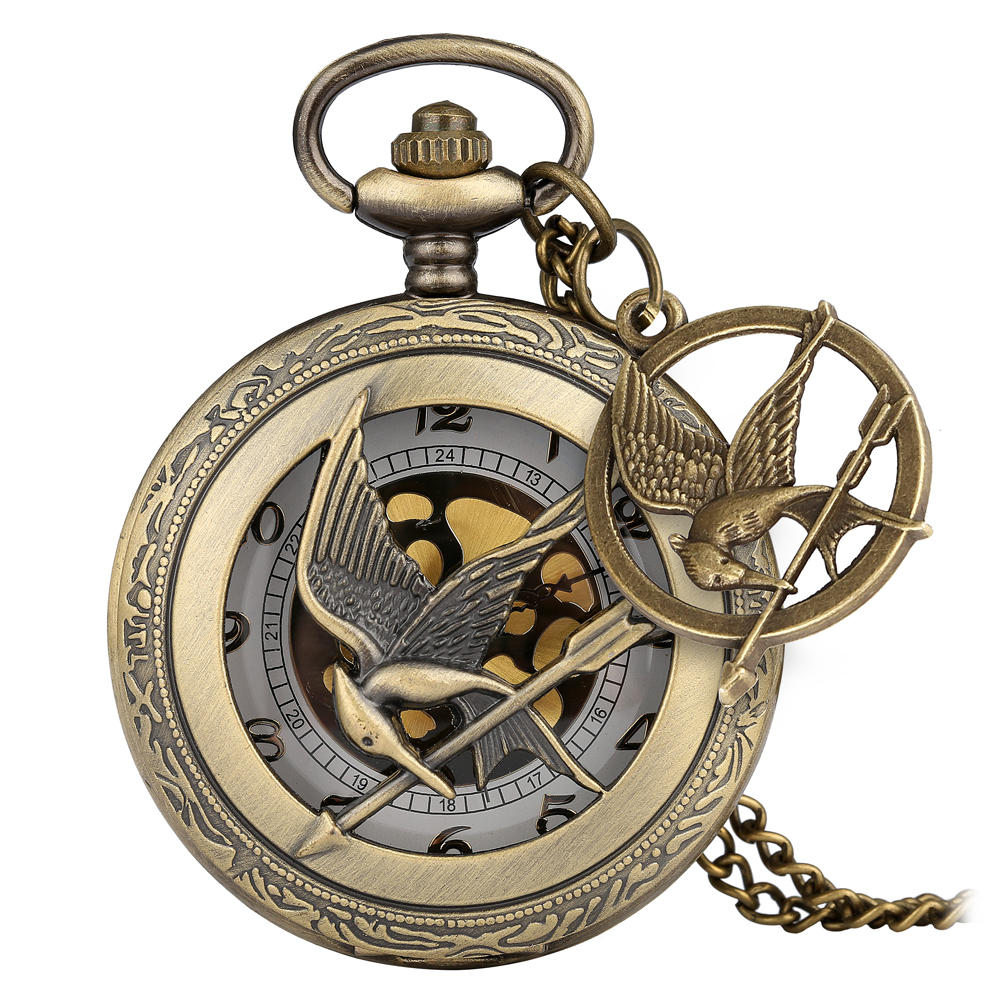 Laughing Bird Accessory Pocket Watch Retro Hollow-out Dial Bronze Case Slim Chain Pendant Watch For Male Women Relogio De Bolso
