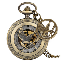 Laughing Bird Accessory Pocket Watch Retro Hollow-out Dial Bronze Case Slim Chain Pendant Watch for Male Women relogio de bolso стоимость