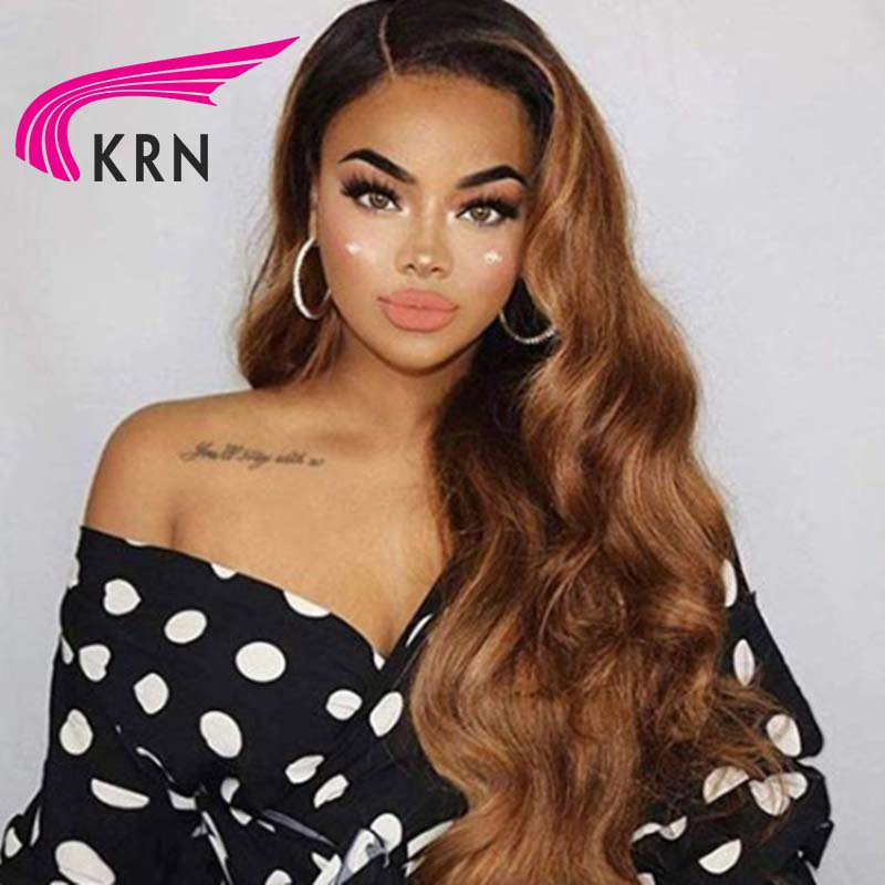 KRN Ombre Blonde 13x6 Lace Front Human Hair Wigs For Women Lace Frontal Wigs Brazilian Body Wave Remy Hair Free Part