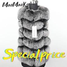 maomaokong Winter Womens Fur Grey Natural Fox Fur Vest Fashion Real fur Vest Jackets Female Waistcoat Short sleeveless