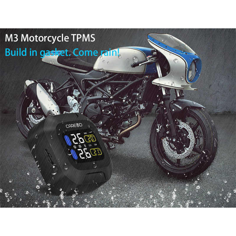 M3 Waterproof Motorcycle Real Time Tire Pressure Monitoring System TPMS Wireless LCD Display Internal or External TH/WI Sensors