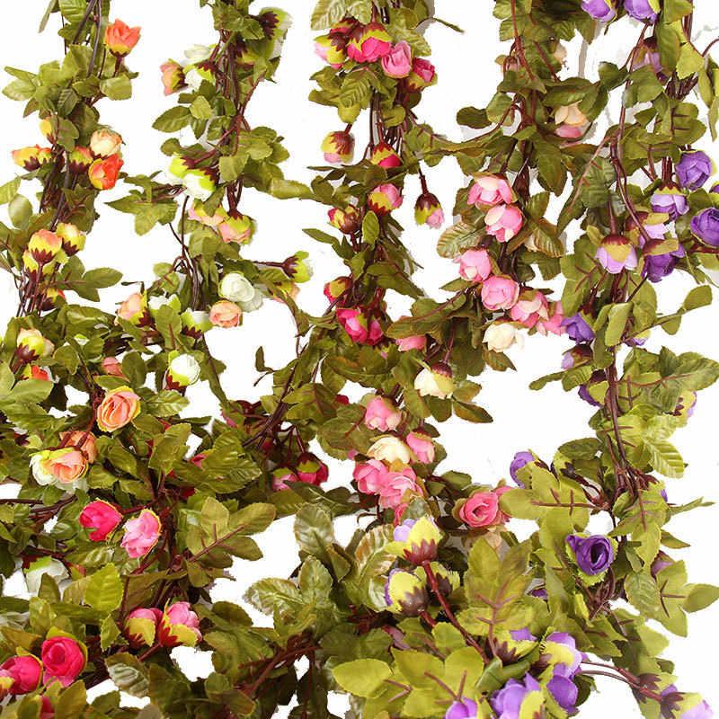 Hot 220cm zijde rose bruiloft decoratie ivy wijnstok kunstmatige bloem boog decoratie met groen blad muur slinger