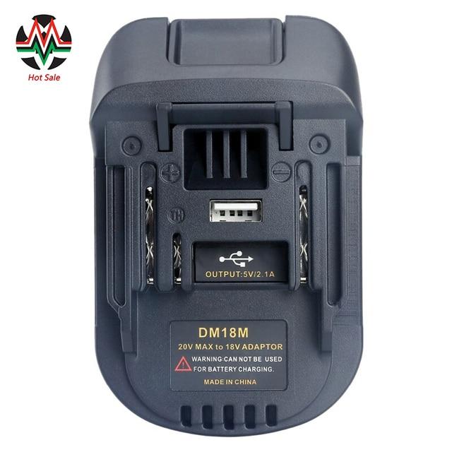20に18vバッテリーコンバータアダプタDM18M dewalt mikwaukeeのためにリチウムイオン充電器マキタBL1830 BL1850電池2020