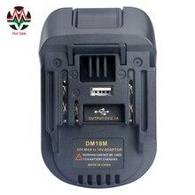 20v a 18v adaptador de conversor de bateria dm18m para dewalt para mikwaukee para li ion carregador para makita bl1830 bl1850 baterias 2020