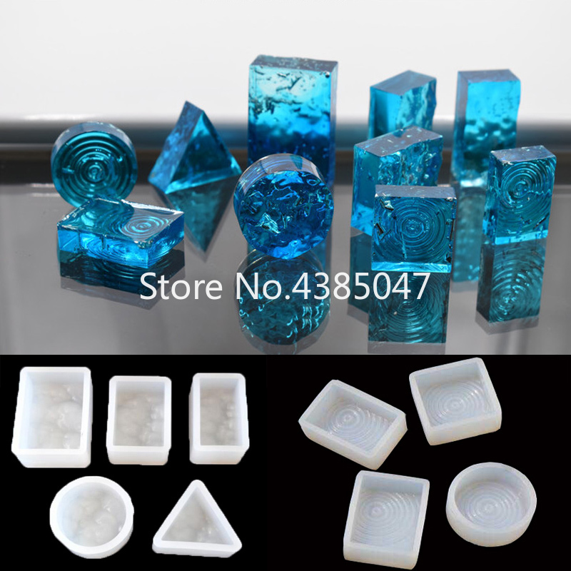 1PC Geometric Silicone Resin Casting Necklace Expoxy Mold For Making Jewelry 3D Water Ripple Cabochon Jewelry Tools