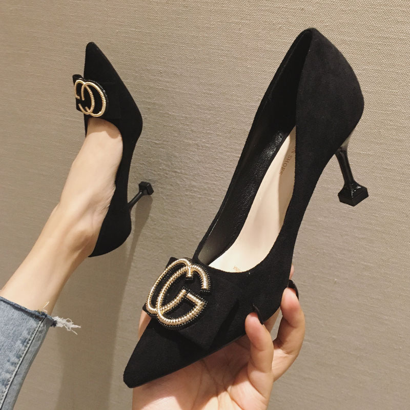 OL Office Lady Shoes Suede High Heels Woman Shoes Pointed Toe Dress Shoes Basic Pumps Women Boat Zapatos Mujer