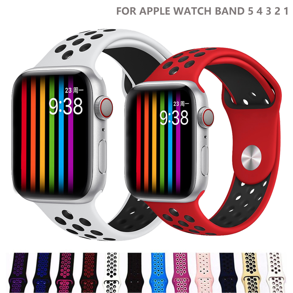 Strap For <font><b>Apple</b></font> <font><b>Watch</b></font> 4/5 band 44mm 40mm iwatch band 3 <font><b>42mm</b></font> 38mm <font><b>pulseira</b></font> correa Sport silicone bracelet belt <font><b>watch</b></font> Accessories image